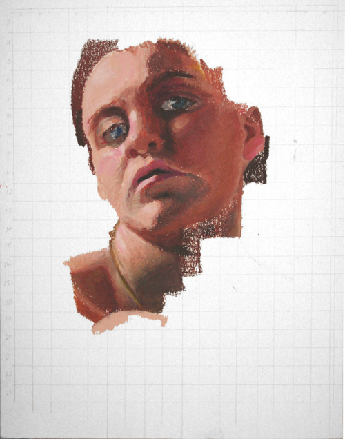 Gridded oil pastel self-portrait